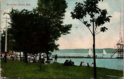 Waukesha Beach Wisconsin~Crowd Watches Sail Boats From Shore~1909 Postcard