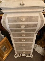Maitland Smith Style Tessellated Marble Stone Jewelry Chest