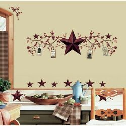 STARS amp; BERRIES WALL DECALS Country Kitchen Stickers Rustic Folk Primitive Decor $15.99
