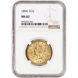 US Gold $10 Liberty Head Eagle NGC MS62 Random Date $1144.42