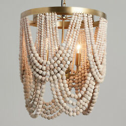 Whitewash Draped Wood Beads Chandelier Antique Brass Frame 4 Light Boho Chic $329.60