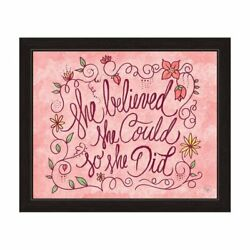 Art and Photo Decor 'She Believed' Graphic Wall Art Print With Black Frame