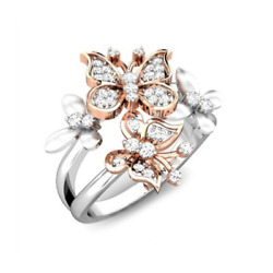 Double Butterflies Inlaid Zircon Ring Rhinestone Ring Plated 18K Gold Jewelry