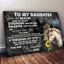 Horse Mom To My Daughter You Are My Sunshine Landscape Paper Poster No Frame