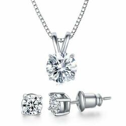 UMODE 18K White Gold Plated Cubic Zirconia Jewelry Set for Women-2 Carat CZ
