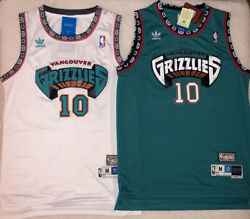 Mike Bibby #10 Hardwood Classics Throwback Vancouver Grizzlies TealWhite Jersey
