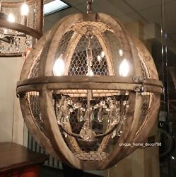New Rustic Farmhouse Style Orb Crystal Wood Birdcage Chandelier Pendant Light