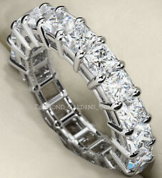5.41 ct Princess cut Diamond Ring 14k White Gold Eternity Band G VS1VS2 Size 6