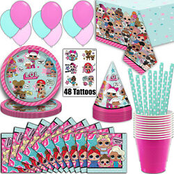LOL Surprise Party Supplies Serves 16 - Plates Napkins Tablecloth and More