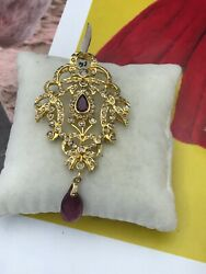 Vintage Indian 21k Gold ~2.50ct Rose Diamond  Pendant with Tourmaline Stone