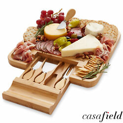 Bamboo Cheese Cutting Board Knife Gift Set Wooden Charcuterie Meat Serving Tray $26.99