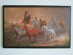 Roundup Western Plaque Wild horses cowboy rustic ranch lodge country decor $34.94