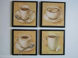 Coffee Cups Country Kitchen Wall Decor Plaque yellow 4 pictures $29.94