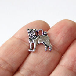 Dog Charms Antique Silver Tone two sided 10 charms in one lot $5.43
