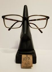 wooden eye glass holder New with tags black stained