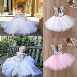 Kids Baby Girls Floral Dress Party Pageant Dresses Summer Beach Holiday Sundress