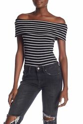 Free People Womens Off The Shoulder Striped Melbourne Tee $16.98