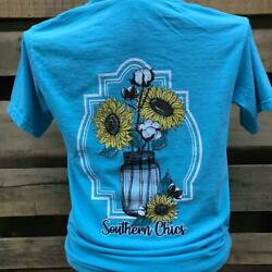 Southern Chics Cotton Mason Jar Sunflowers Comfort Colors Bright Girlie T Shirt $29.99