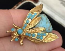 Vintage Jewellery gorgeous turquoise cabochon fly bug brooch