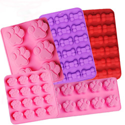 Food Grade Silicone Puppy Treat MoldsDog Paw & Bone Pattern Non-stick Ice Cube