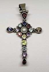 Vintage Sterling Silver Multi-Color Gem Stone Cross Pendant- Nicky Butler Style