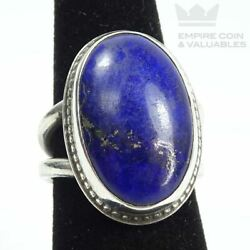 Sterling Silver Lapis Lazuli Oval Cabochon Ring Sz 6