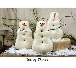 New Primitive Snowman Snowmen Set of 3 Tea Stained Cloth Christmas Winter Aged