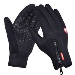 Black Cycling Gloves Full Finger Winter Fleece Bike Bicycle Gloves Touch Screen $14.99