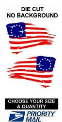 Betsy Ross 13 Star Distressed blue & red American Flag Decal USA JEEP