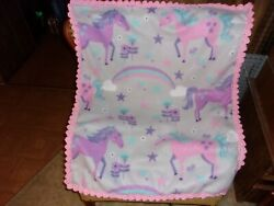 Unicorn and Rainbows Fleece Baby Blanket with Crochet Edging Car Seat Cover