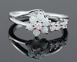 Sterling Silver  Fire Opal Flower Ring Made with Swarovski Crystals
