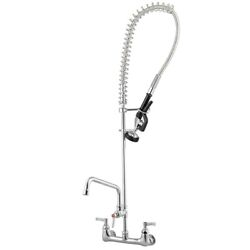 12quot; Wall Mount Commercial Pre Rinse Faucet Kitchen Pull Out Down Sink w Sprayer