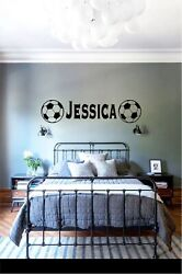 CUSTOMIZED NAME SOCCER WALL BEDROOM VINYL GRAPHIC STICKER WALLPAPER DECAL 3amp; 5FT $25.00