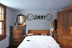 PERSONALIZED NAME BASEBALL WALL BEDROOM VINYL GRAPHIC STICKER DECAL 3FT OR 5FT $19.00