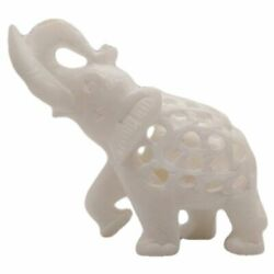 Handcarved Marble Elephant Showpiece Natural Finish 4x5 Inch  Best for Gifting