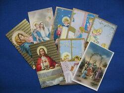 Gorgeous Collectible Lot of 8 Vintage Antique Catholic HOLY CARDS Miniature Mint