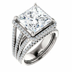 4.40 Ct Square Moissanite Forever One Halo triple Band pave engagement ring
