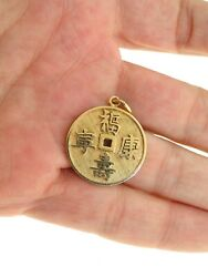 GORGEOUS 14KT YELLOW GOLD ASIAN LETTERS CIRCLE PENDANT