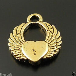 40pcs Vintage Style Gold Tone Alloy Heart Angel Wing Charm Finding Hot 33054 $4.08