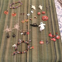 Halloween Jewelry Lot Earrings Necklace Pins Adorable!