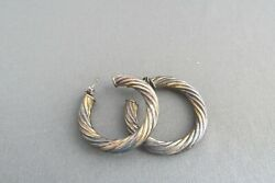 VINTAGE TRI COLOR SILVER TWISTED ROPE OPEN HOOP PIERCED EARRINGS WITH BACKINGS