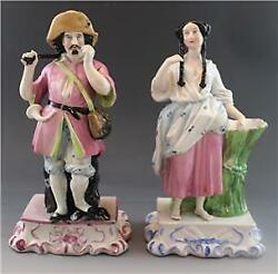 Pair C1850 English Staffordshire Pottery Figural Spill Vases Gentleman