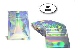 100 New Holographic Rainbow Laser Double-Sided Mylar Foil Ziplock Bags 3x4