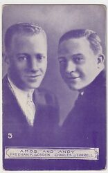 OLD TIME RADIO EXHIBIT POSTCARD AMOS N' ANDY GOSDEN AND CORRELL CIRCA 1929