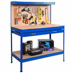 Work Bench Tool Storage Steel Tool Workshop Table W Drawer and Peg Board Blue