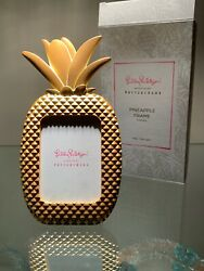 LILLY PULITZER PINEAPPLE GOLD METAL PHOTO PICTURE MINI FRAME *LIMITED EDITION* $40.00