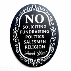 Creative Wooden Laser Engraved No Soliciting Romark Style Sign Door Plaque US