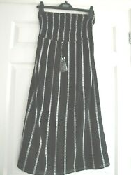 M&S BNWT SIZE 8 DRESS BEACHWEAR BLACK WHITE HOLIDAY LADIES GIRLS COVER UP SUMMER $14.90