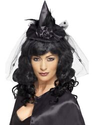 Mini Black Witch Hat Lace Costume Headband Pointed Womens Adult Size Fancy Dress $16.99