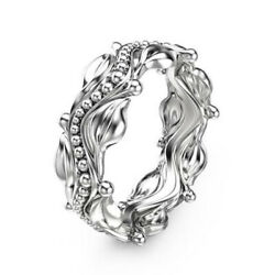 Fashion Leaf 925 Silver Filled Rings for Women White Sapphire Ring Size 6-10